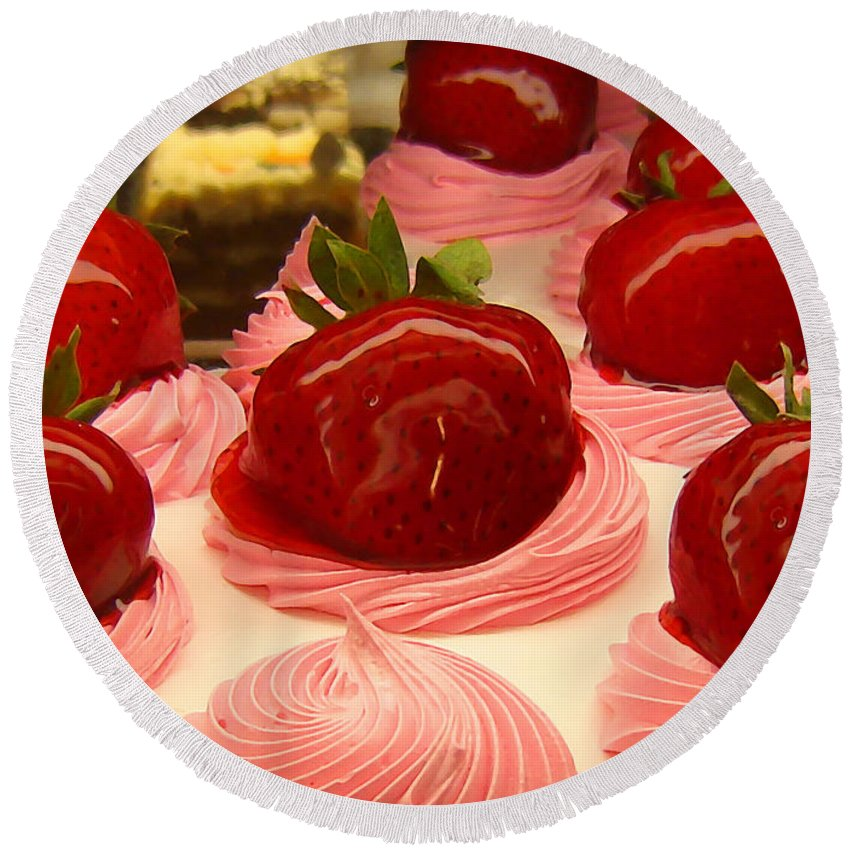 Food Round Beach Towel featuring the painting Strawberry Mousse by Amy Vangsgard
