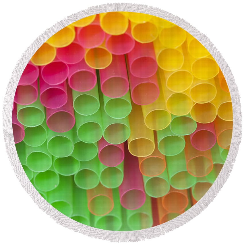 Sipper Round Beach Towel featuring the photograph Straws by Michal Boubin