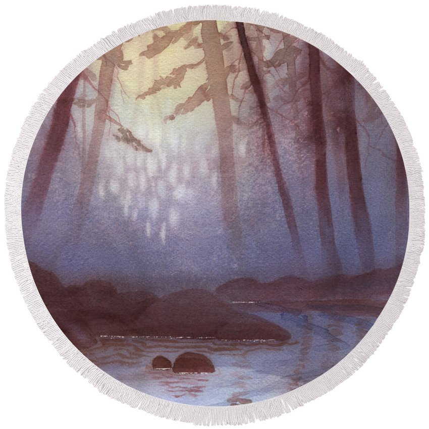 Landscape Round Beach Towel featuring the painting Stream In Mist by Lynn Quinn