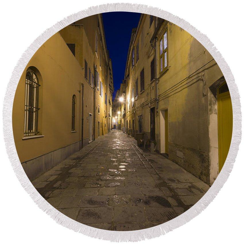 Alley Round Beach Towel featuring the photograph Street Alley By Night by Mats Silvan