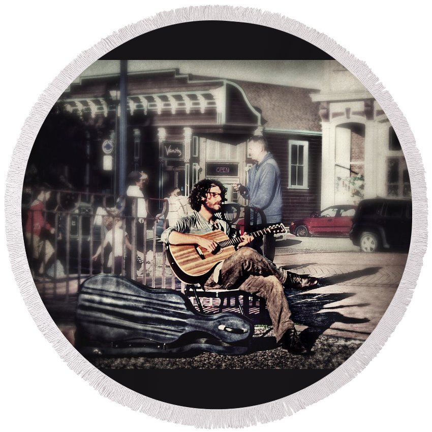 Music Round Beach Towel featuring the photograph Street Beats by Melanie Lankford Photography