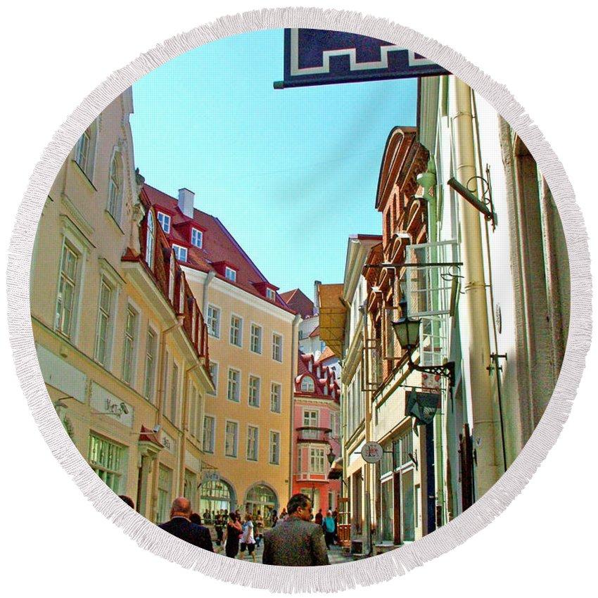 Street In Old Town Tallinn Round Beach Towel featuring the photograph Street In Old Town Tallinn-estonia by Ruth Hager