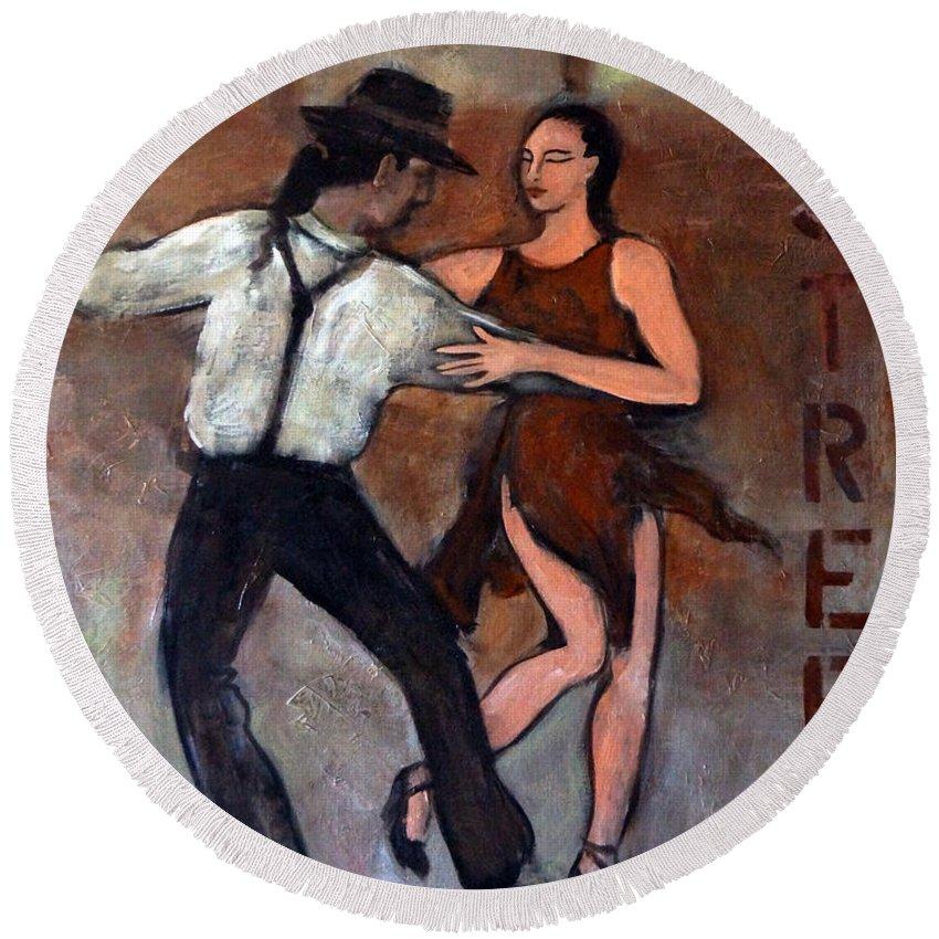 Tango Round Beach Towel featuring the painting Tango Street by Valerie Vescovi