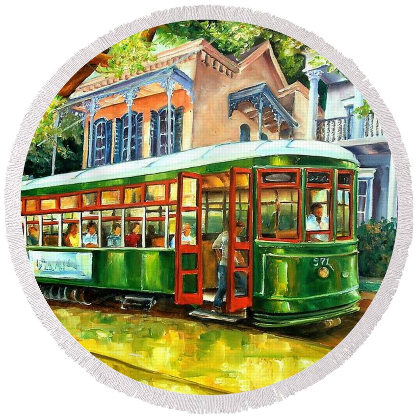New Orleans Round Beach Towel featuring the painting Streetcar On St.charles Avenue by Diane Millsap
