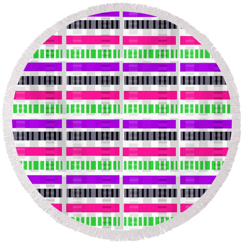 Digital Round Beach Towel featuring the digital art Stripe And Check by Louisa Hereford