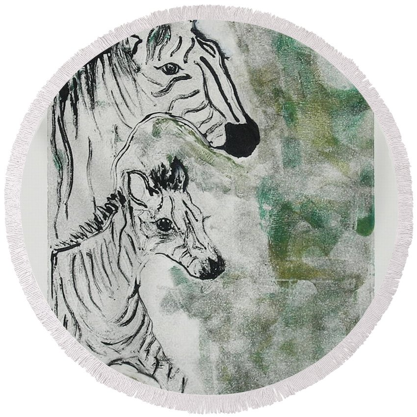 Zebras Round Beach Towel featuring the mixed media Striped Duet by Cori Solomon