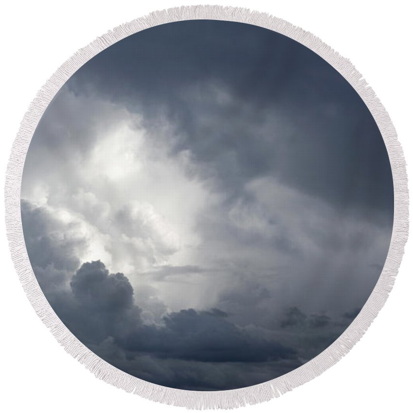 Dramatic Sky Round Beach Towel featuring the photograph Strom Clouds by Les Cunliffe
