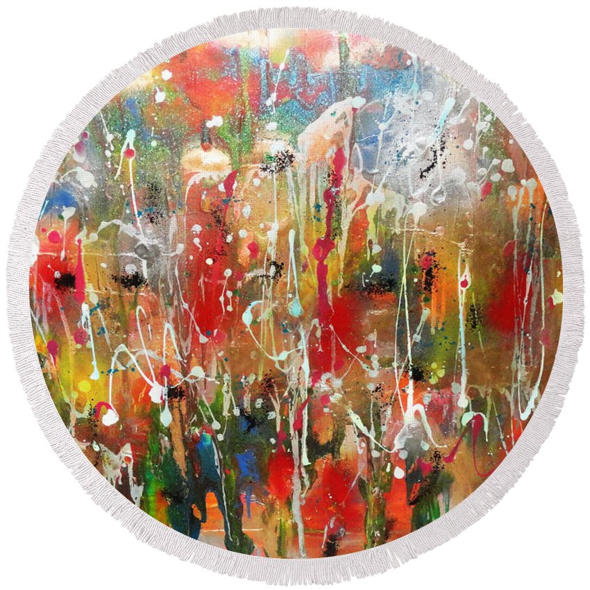 Contemporary Abstract Round Beach Towel featuring the painting Strong And Courageous by Yael VanGruber