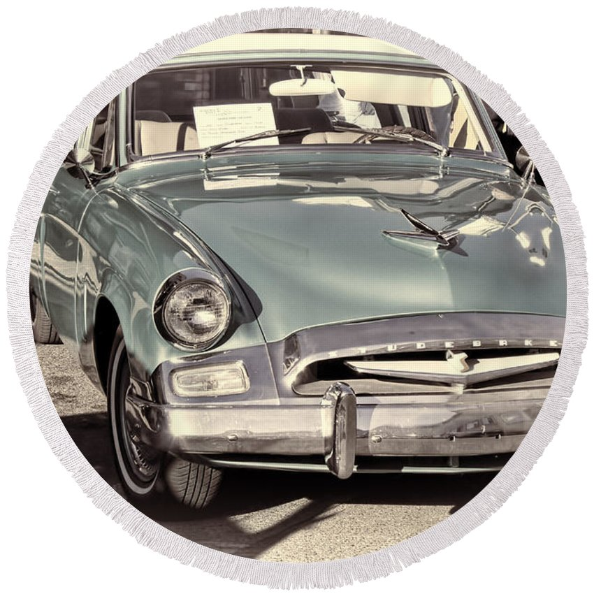 Studebaker Round Beach Towel featuring the photograph Studebaker 3 by Cathy Anderson