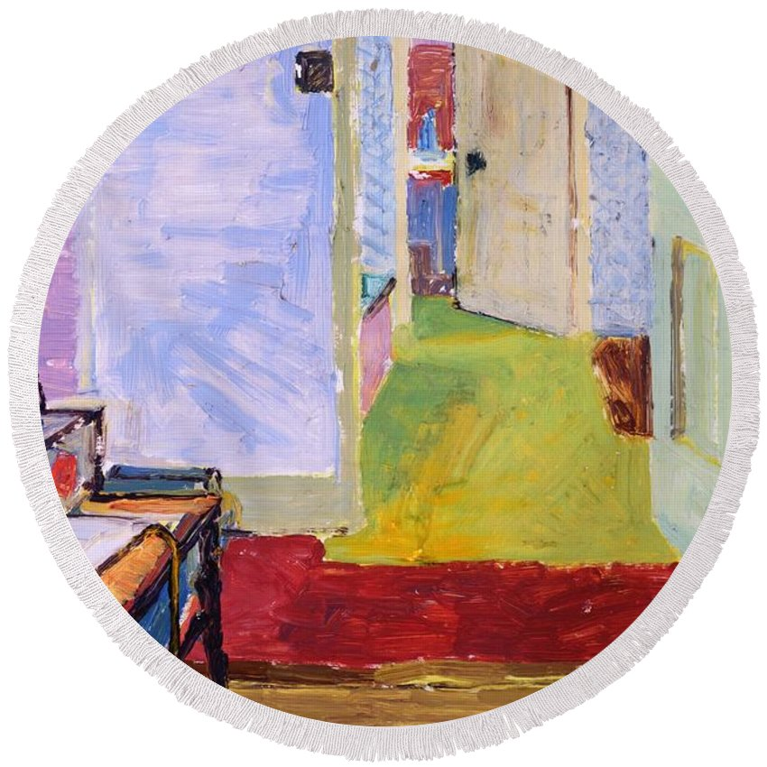 Artist's Studio Round Beach Towel featuring the photograph Studio Space, Ivor Street, Nw1 Oil On Canvas by Brenda Brin Booker