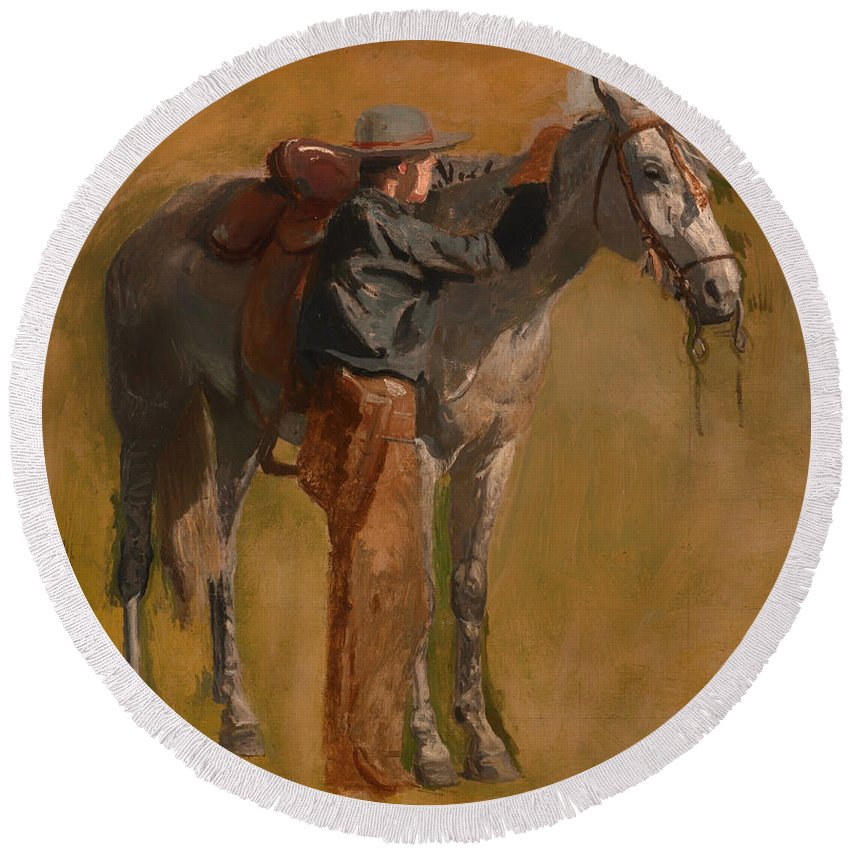 Painting Round Beach Towel featuring the painting Study For Cowboys In The Badlands by Mountain Dreams