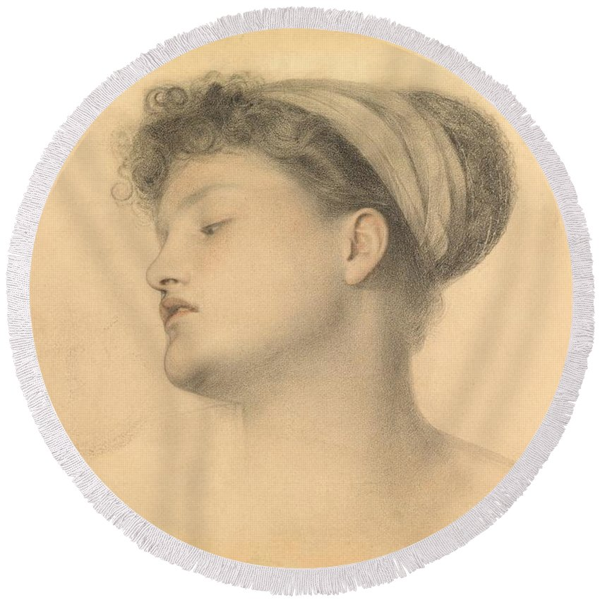 Female Round Beach Towel featuring the drawing Study For Girl With Doves by Anthony Frederick Augustus Sandys