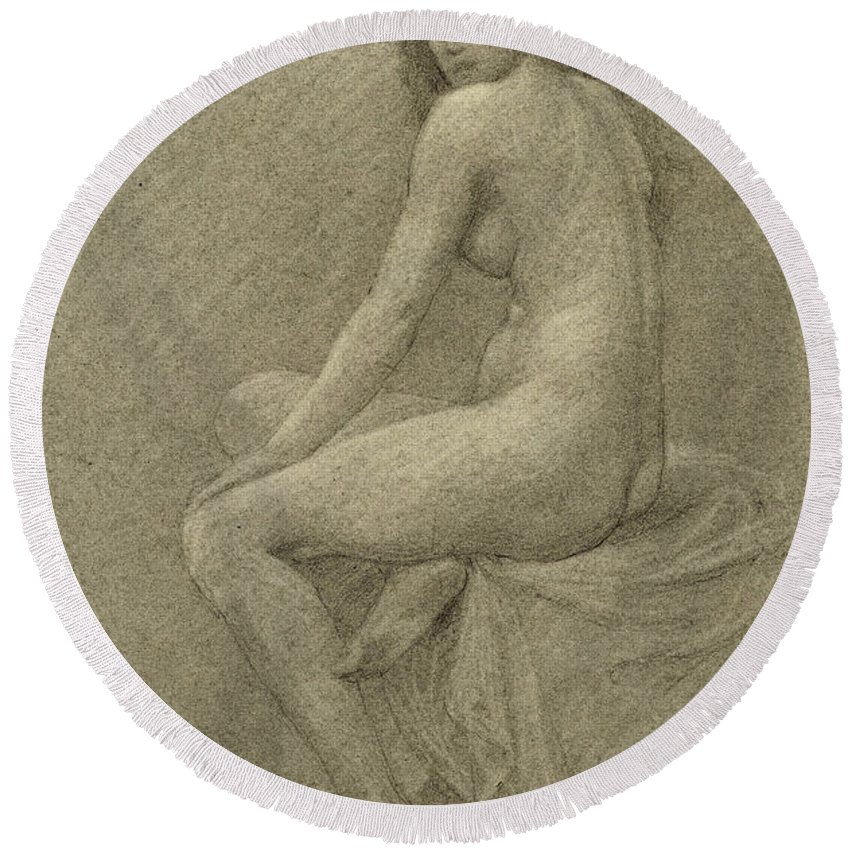 Study Round Beach Towel featuring the drawing Study For Lilith by Robert Fowler