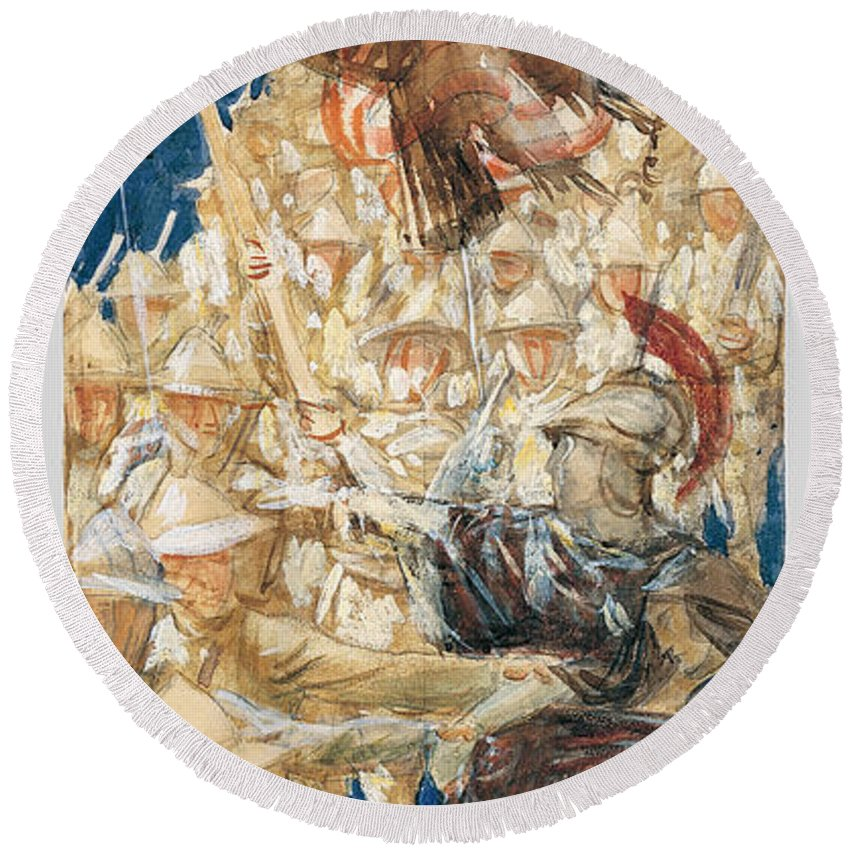 John Singer Sargent Round Beach Towel featuring the painting Study For The Coming Of The Americans by John Singer Sargent