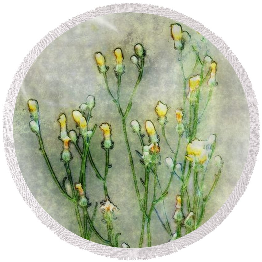 Wildflowers Round Beach Towel featuring the painting Nature Study In Moonlight by RC DeWinter