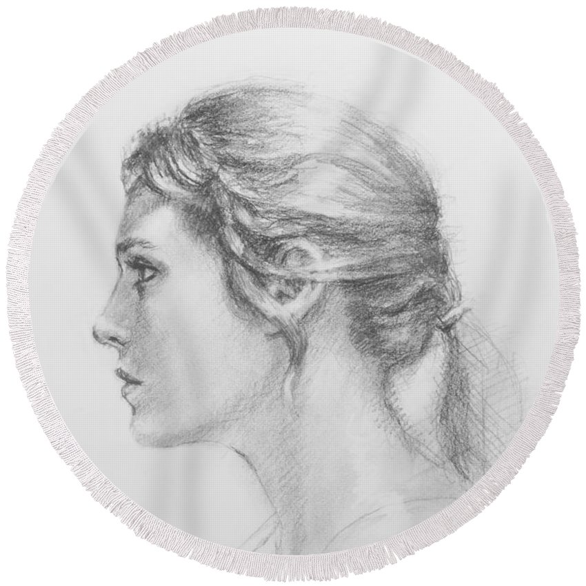 Figurative Round Beach Towel featuring the drawing Study In Profile by Sarah Parks