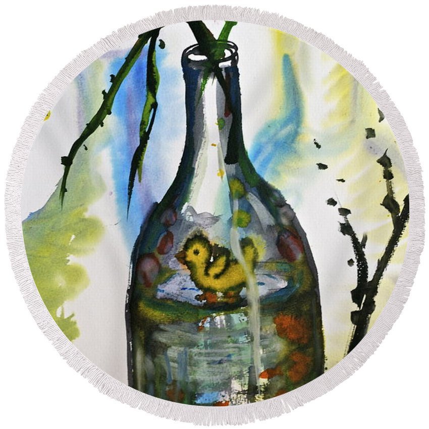 Study Round Beach Towel featuring the painting Study - Yellow Ducky In Bottle by M E Wood
