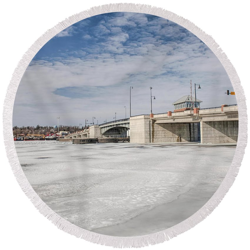 Bridge Round Beach Towel featuring the photograph Sturgeon Bay Bridge by Nikki Vig