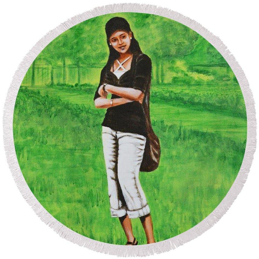 Style Round Beach Towel featuring the painting Stylish Miss by Usha Shantharam
