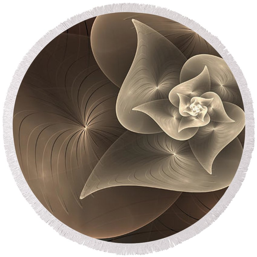Digital Art Round Beach Towel featuring the digital art Stylized Philodendron Sepia by Gabiw Art