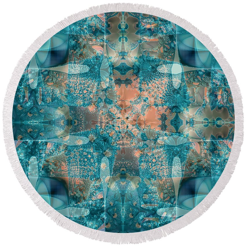 Abstract Round Beach Towel featuring the digital art Subaqueous by Kristen Fox
