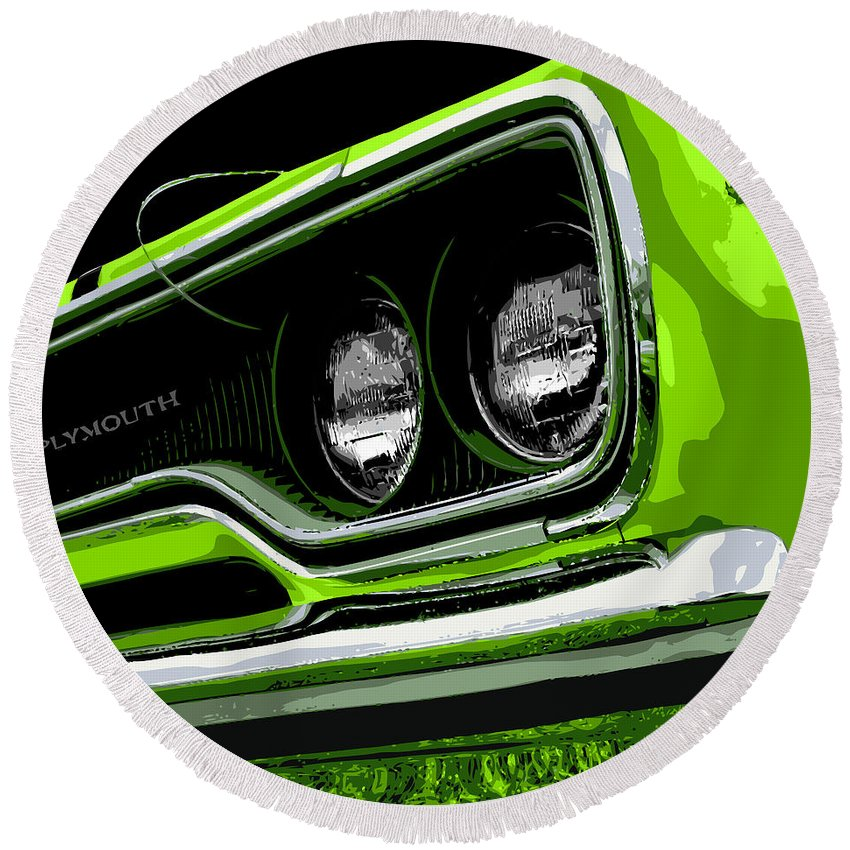 Round Beach Towel featuring the photograph Sublime '70 Road Runner by Gordon Dean II