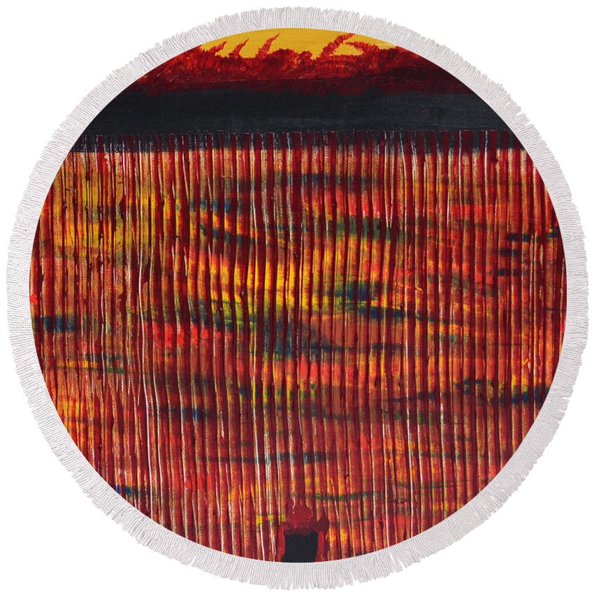 Subterraeam Round Beach Towel featuring the painting Subterranean Skyline by James Pinkerton