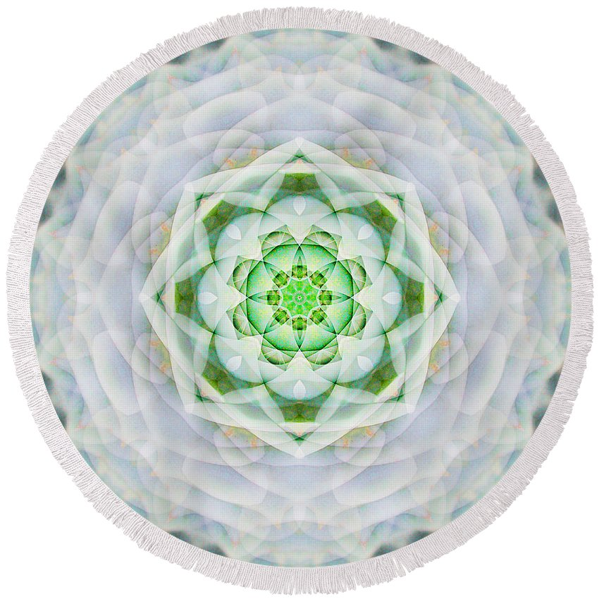 Rainbow Round Beach Towel featuring the photograph Succulent Mandala by Susan Bloom