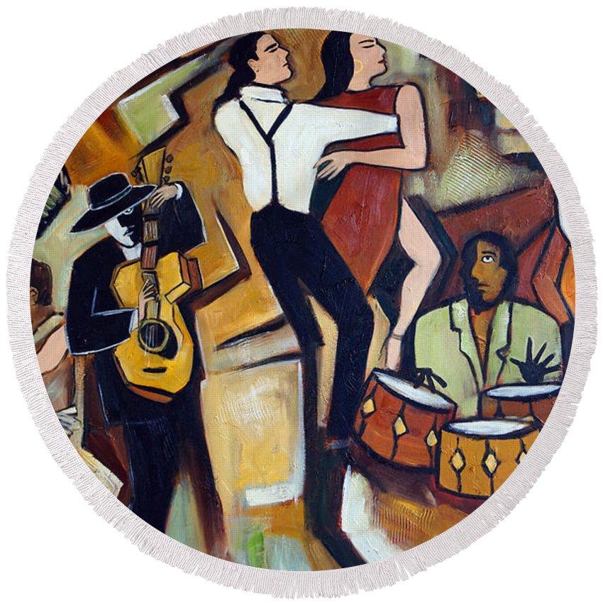 Tango Round Beach Towel featuring the painting Suenos de Tango by Valerie Vescovi