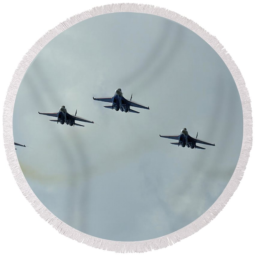 Horizontal Round Beach Towel featuring the photograph Sukhoi Su-27 Flanker Aircraft by Remo Guidi