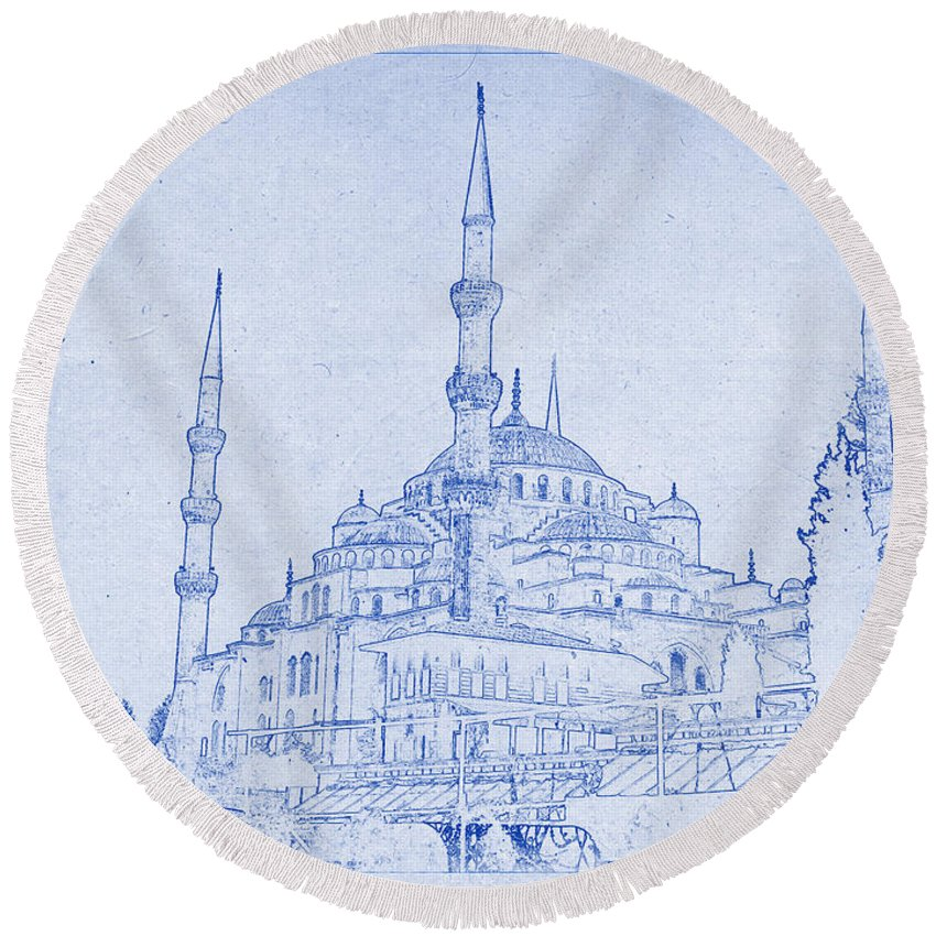 Mosque Round Beach Towel featuring the photograph Sultan Ahmed Mosque Istanbul Blueprint by Kaleidoscopik Photography