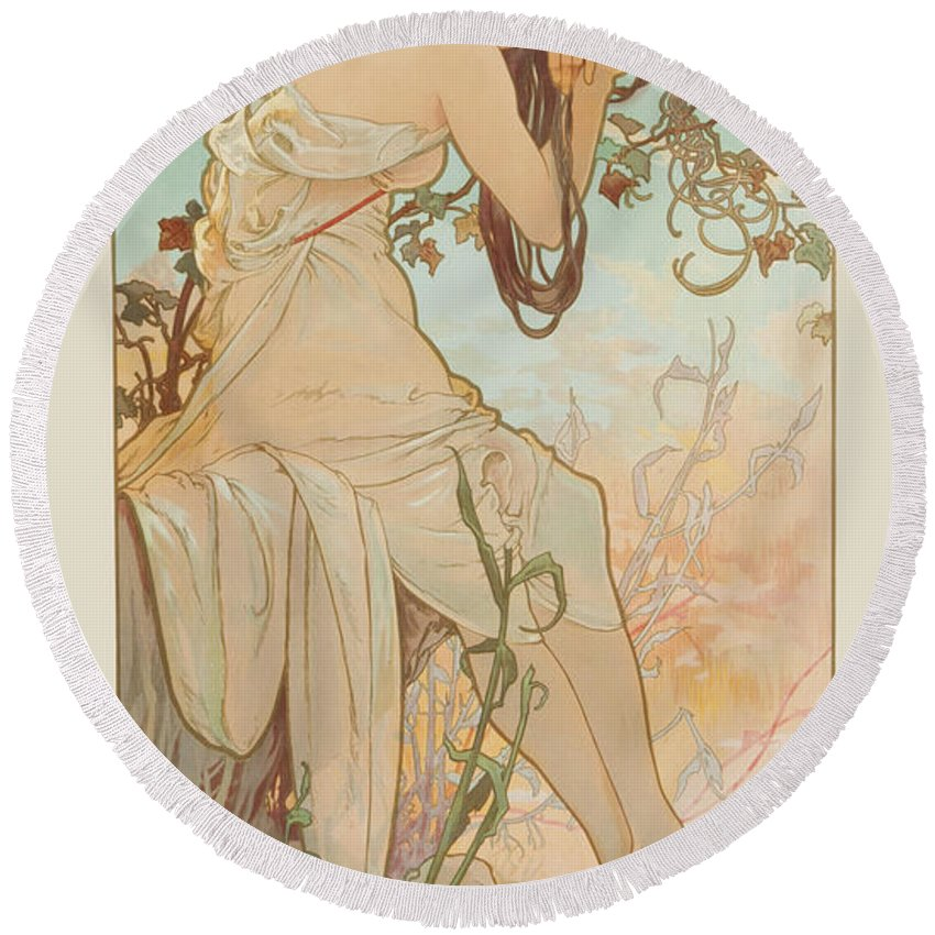 Seasons Round Beach Towel featuring the painting Summer by Alphonse Mucha