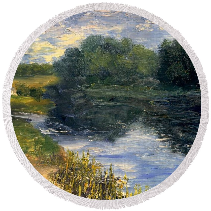 Landscape Round Beach Towel featuring the painting Summer At Jackson Lake by Gail Kirtz