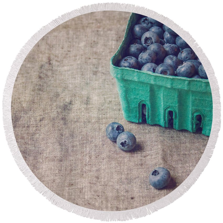Kitchen Round Beach Towel featuring the photograph Summer Blueberries by Bethany Helzer