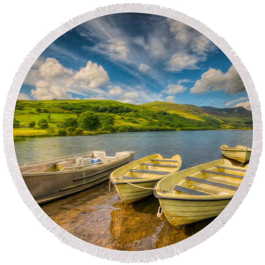 Boat Round Beach Towel featuring the photograph Summer Boating by Adrian Evans