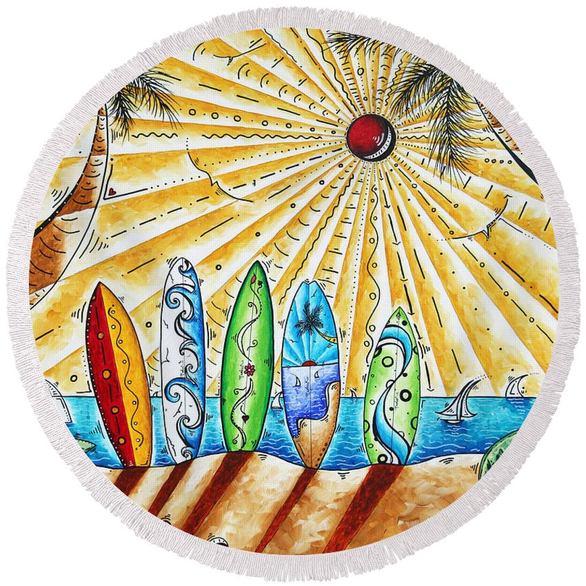Tropical Round Beach Towel featuring the painting Summer Break By Madart by Megan Duncanson