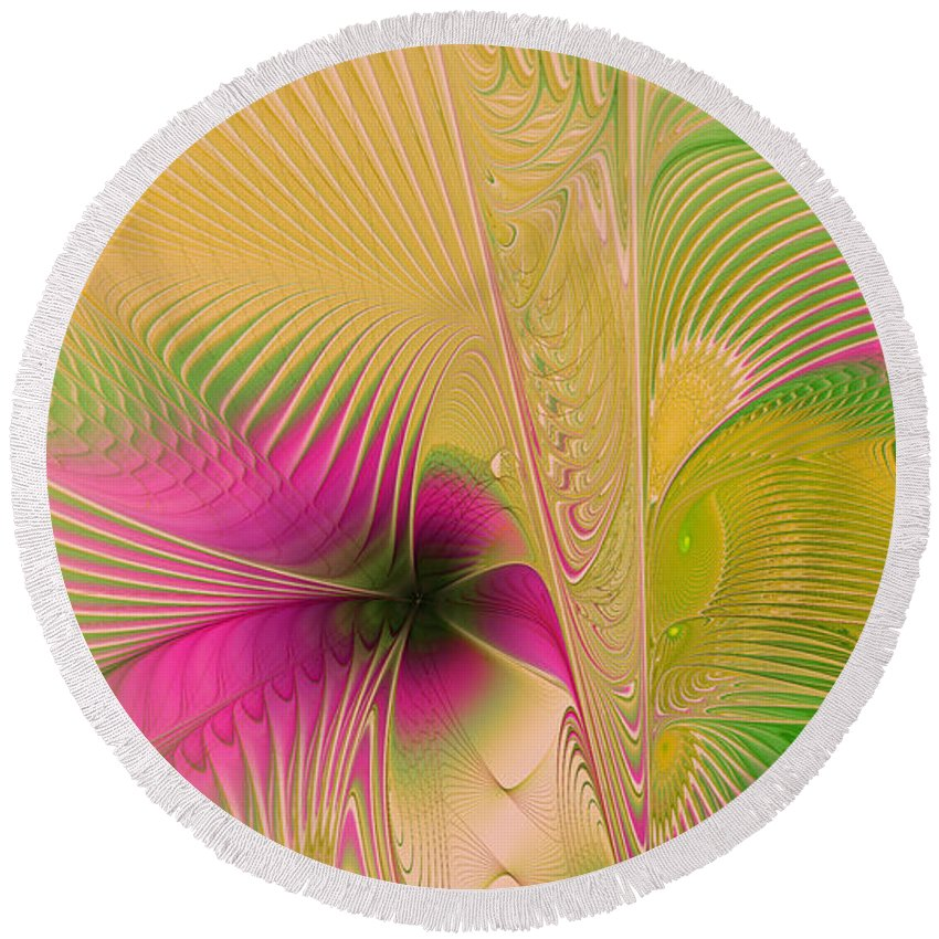 Digital Round Beach Towel featuring the digital art Summer Breeze by Deborah Benoit