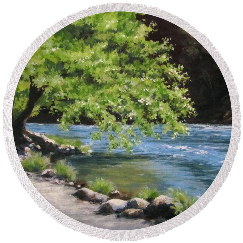 Landscape Round Beach Towel featuring the painting Summer Dreams by Karen Ilari