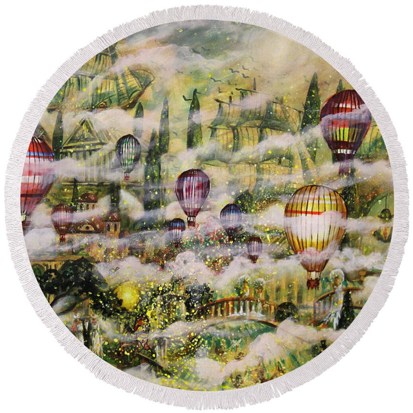 Summer Eden Round Beach Towel featuring the painting Summer Eden by Dariusz Orszulik