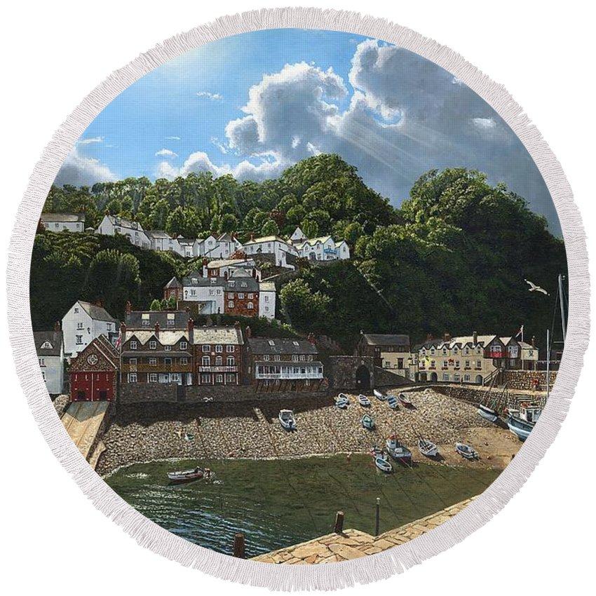 Landscape Round Beach Towel featuring the painting Summer Evening Clovelly North Devon by Richard Harpum
