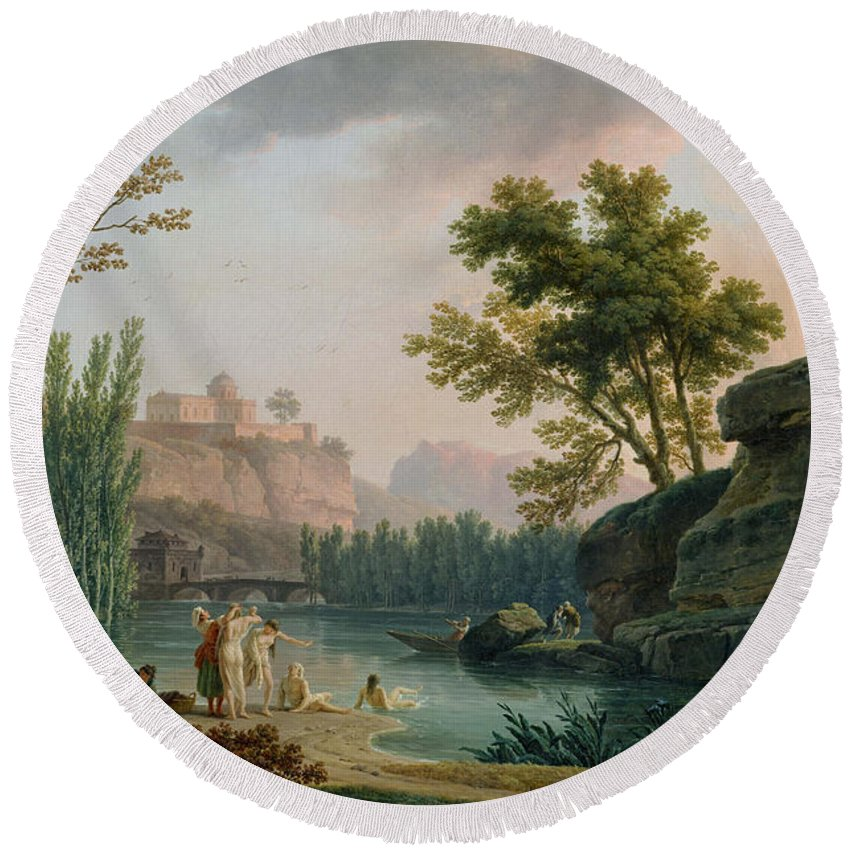 Claude Joseph Vernet Round Beach Towel featuring the painting Summer Evening Landscape In Italy by Claude Joseph Vernet