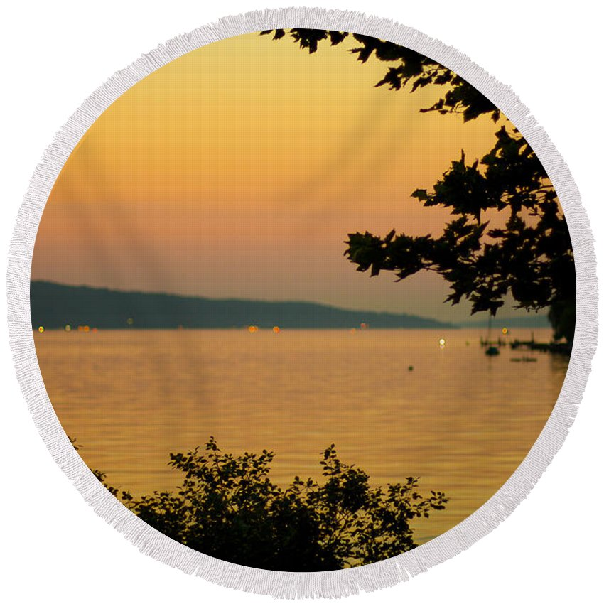 Summer Round Beach Towel featuring the photograph Summer Evening On Cayuga Lake by Brad Marzolf Photography
