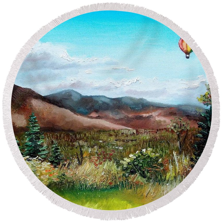 Hot Air Balloon Round Beach Towel featuring the painting Summer Flight 4 by Shana Rowe Jackson