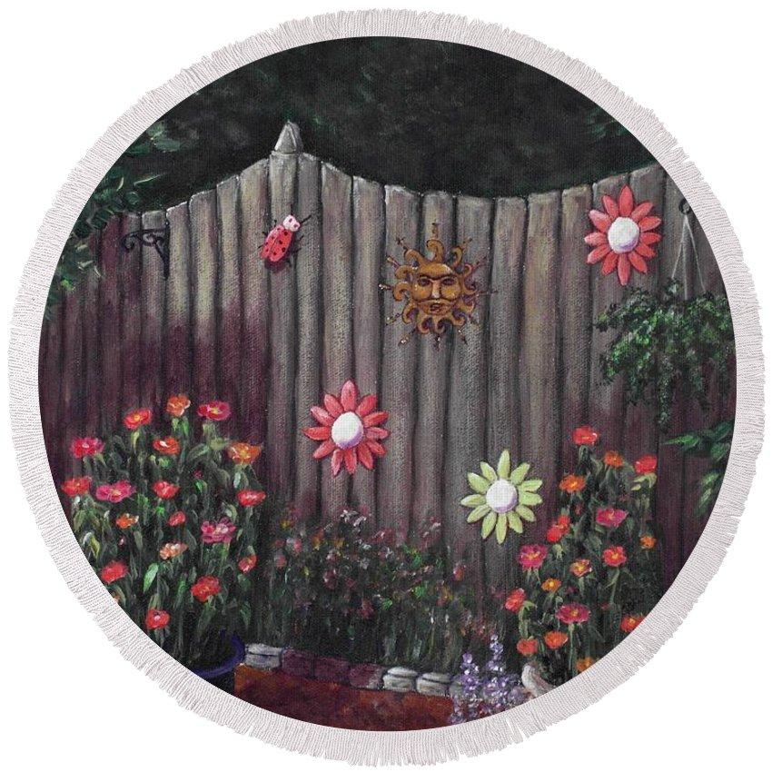 Plant Round Beach Towel featuring the painting Summer Garden by Anastasiya Malakhova