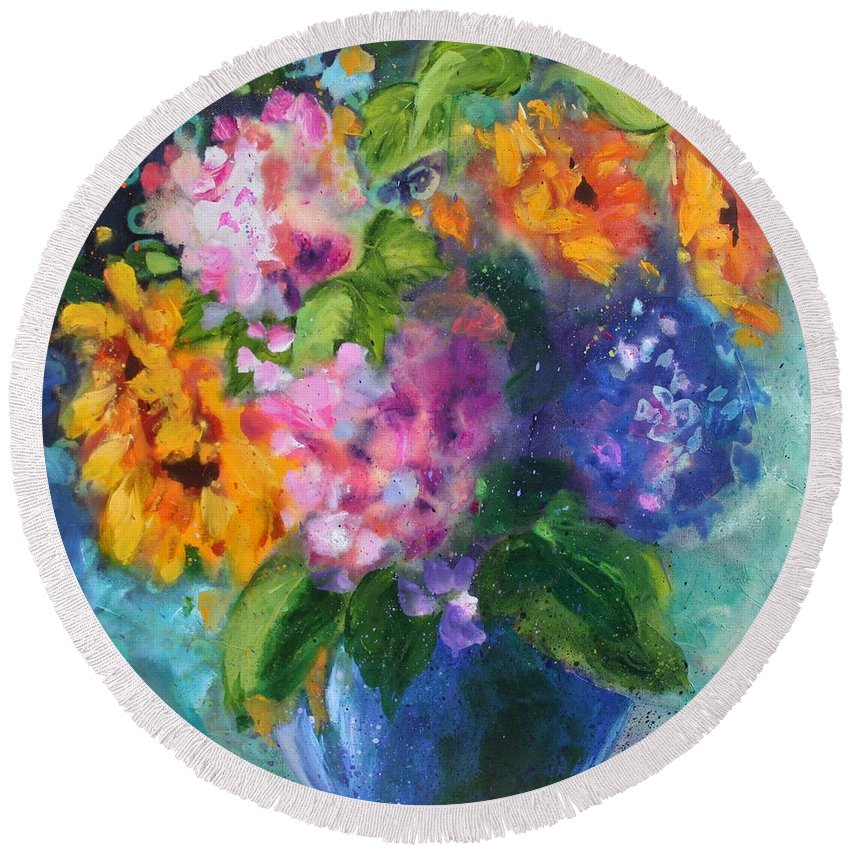 Flower Round Beach Towel featuring the painting Summer Happiness by Julie Senf