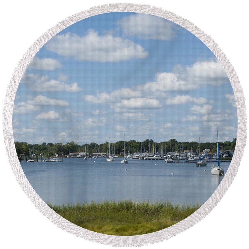 America Round Beach Towel featuring the photograph Summer In New England by Juli Scalzi