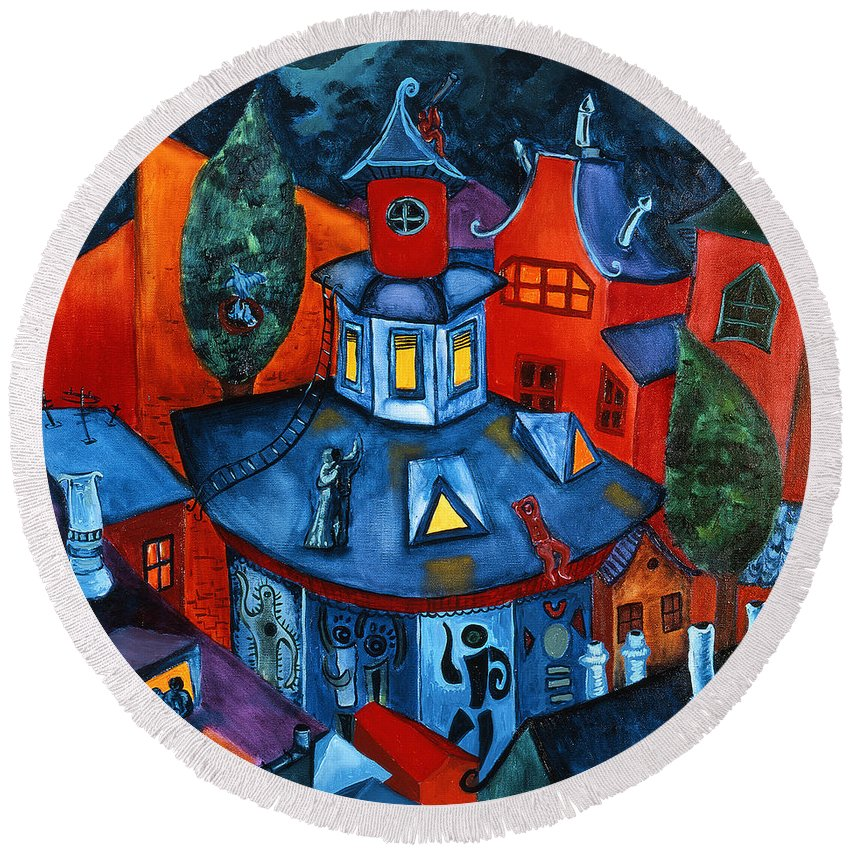 Modern Art Round Beach Towel featuring the painting Summer In The City by Sabina Nedelcheva-Williams