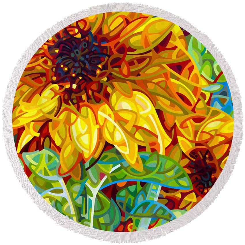 Summer Round Beach Towel featuring the painting Summer In The Garden by Mandy Budan