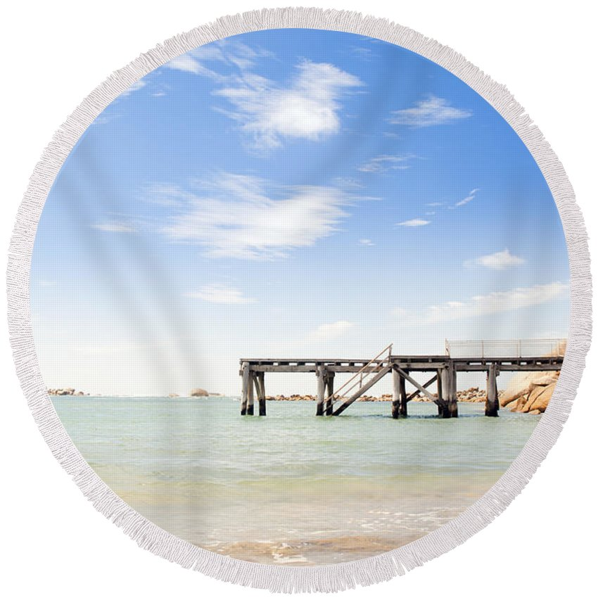 South Australia Round Beach Towel featuring the photograph Summer Jetty by Tim Hester