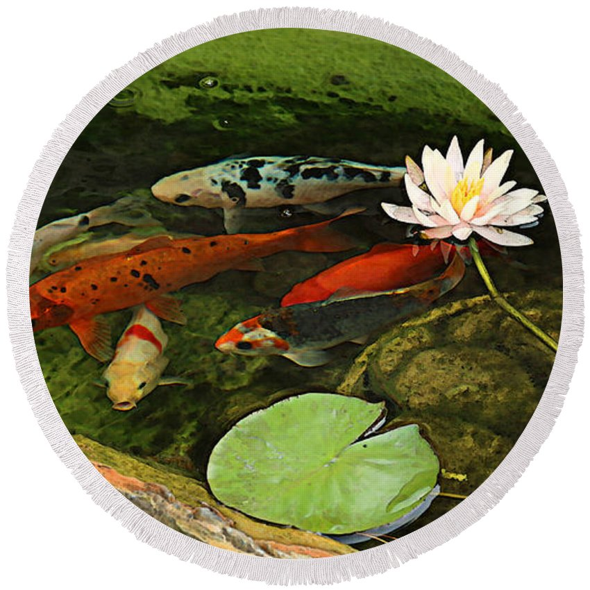 Summer Round Beach Towel featuring the photograph Summer Koi And Lilly by Amanda Smith